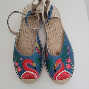 Boden Peggy Espadrilles Flamingo Flats Size 41